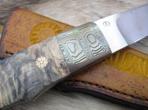 damascus fulltang leather carving