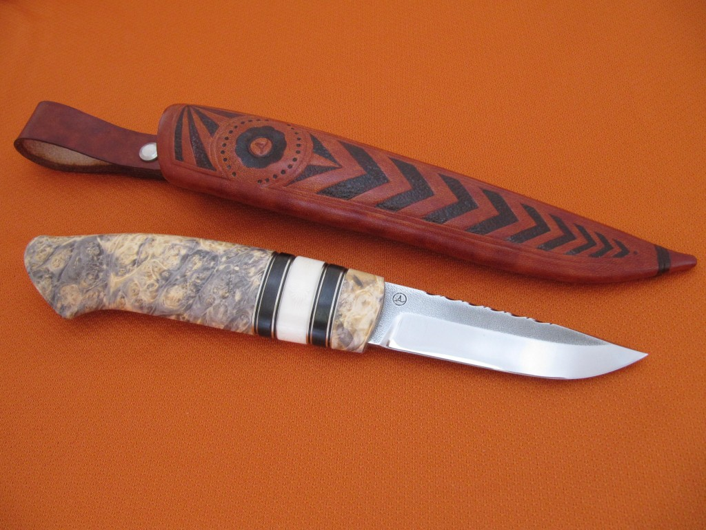 95mm AEB-L blade box elder grenadill ivory substitute decorated sheath1