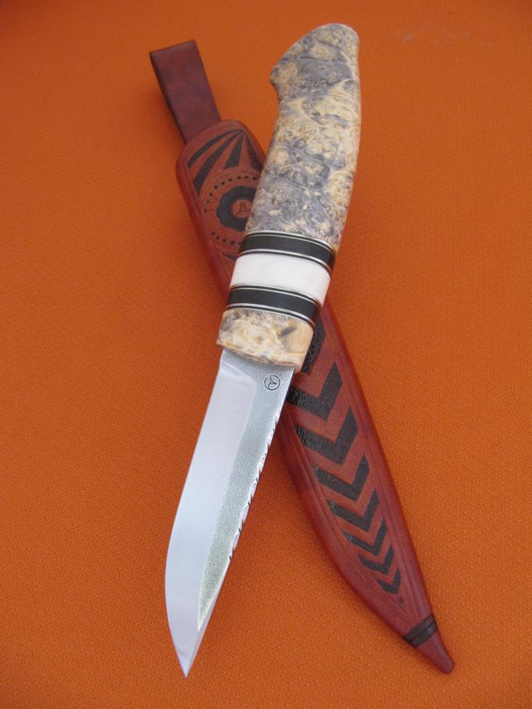 95mm AEB-L blade box elder grenadill ivory substitute decorated sheath2