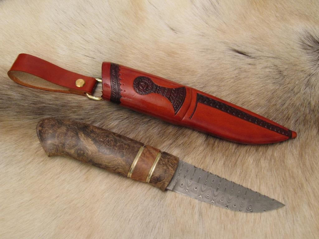 damasteel odins eye golden madrone burl brass decorations1